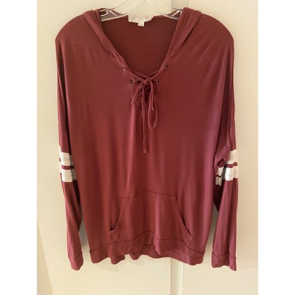 Pink Republic Plum Lace-up Long Sleeve Hoodie